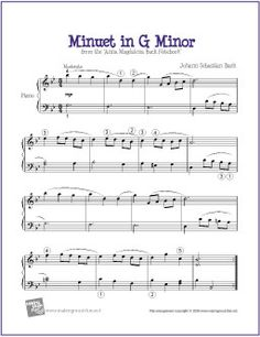 Minuet in G Minor (Bach) | Free Sheet Music for Piano - http://makingmusicfun.net/htm/f_printit_free_printable_sheet_music/minuet-in-g-minor-level-five-piano-solo.htm
