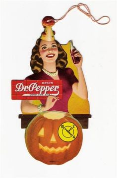 Vintage Halloween Ephemera ~  Dr. Pepper Cardboard Advertising Hang Tag ©1947