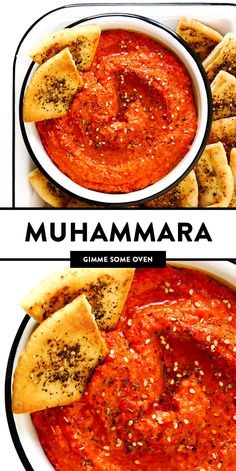 This Muhammara recipe is easy to make in about 10 minutes, made with roasted red peppers and walnuts, and seasoned with lemon, garlic, pomegranate molasses, and a delicious blend of earthy seasonings. It's the perfect dip or spread to serve as an appetizer, or use it as a sauce for chicken, fish, veggies, or whatever sounds good! | gimmesomeoven.com #muhammara #dip #spread #syrian #healthy #vegan #appetizer #mezze Muhammara Recipe, Vegetarian Recipes, Healthy Recipes, Veggie Recipes, Pomegranate Molasses, Gimme Some Oven, Sauce For Chicken, Healthy Dips, Appetisers