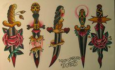 traditional dagger tattoo flash - nick carus
