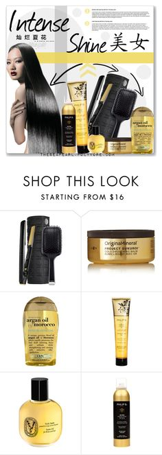 """""""Intense Shine Hair"""" by theseapearl ❤ liked on Polyvore featuring beauty, GHD, Original & Mineral, Organix, Philip B, Diptyque, haircare, beautyset and asianbeauty"""