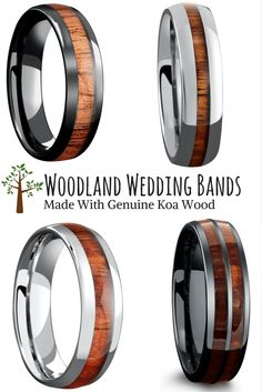 The woodland wedding ring collection. For the future husband who loves the great outdoors. These wood wedding rings are made with 100% genuine koa wood. They are also waterproof and extremely durable.