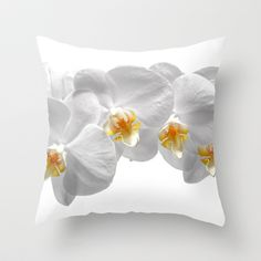 white orchid II Throw Pillow by blackpool - $20.00