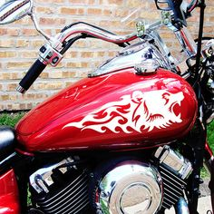 Flaming Bear Head Motorcycle Tank Decals or Saddlebag Stickers
