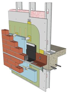 This shows a sample detail of a wall assembly featuring a fluid-applied air barrier with continuous insulation under masonry veneer on steel stud backup. Images courtesy Sto Corp.