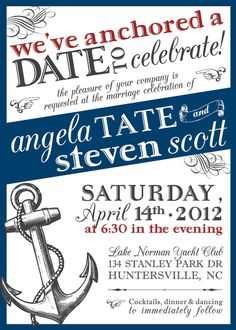 Nautical Wedding Invitation by PlatypodeAlamode on Etsy, $3.25