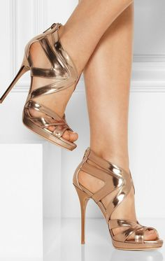 Jimmy Choo | Collar mirrored-leather sandals