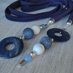 Details of Blue and white necklace navy blue necklace by DenDesign jewels