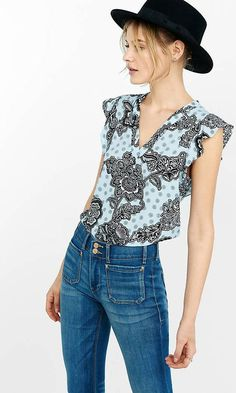 Pin for Later: Swap Out These Staples to Make Your Summer Outfit Office-Appropriate Instead of Tank Tops, Wear Cap Sleeves Medallion Floral V-Neck Flutter Cap Sleeve Blouse ($45)