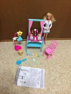 Barbie Doll I can Be Newborn Baby Girl Doctor Lot Playset Rocking Chair Bottle