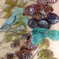 Brand new iridescent leaf headpins.