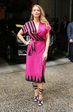 Blake Lively.. Kristinit Stripe Wrap Dress c/o Preserve US, and Alexa Wagner heels..