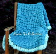 Teal and Mint Baby Blanket Crochet Baby by sweetpeacollections