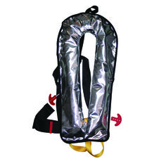 The infatable lifejacket protective work cover provides shielding against heat, sparks, flame, soft chemicals