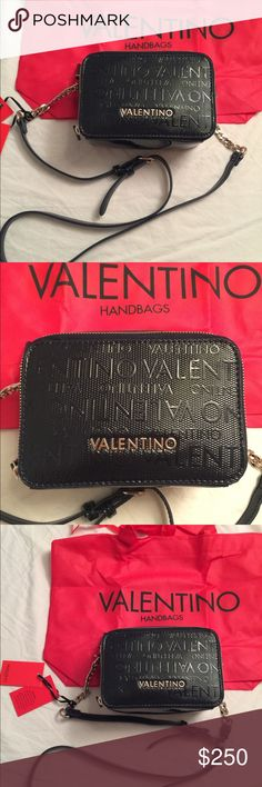 FINAL PRICE Valentino by Mario Valentino navy bag Patent leather very dark  navy (almost black) crossbody bag by Mario Valentino. aa5a4b68741
