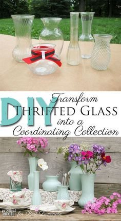 DIY: Thrifted Glass into Coordinating Collection - perfect party decor or arrangement by Prodigal Pieces for Best Laminate http://www.prodigalpieces.com #prodigalpieces
