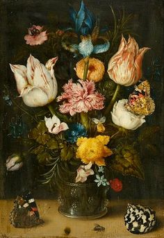 Ambrosius Bosschaert the Elder Floral Still Life with Insects and Shells 1608