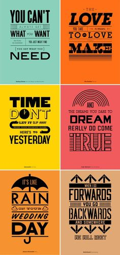 Great Type Posters..must make into some framed pics to spread the music thru the house #Font