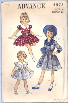 1940s 1950s Size 4 Breast 23 Girls Double Breasted Dress Advance 5578 Vintage Sewing Pattern