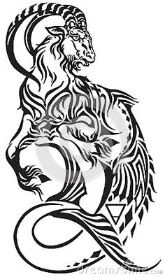 Capricorn zodiac sign . Tribal tattoo style mythological creature . Astrological sea goat including symbols of saturn planet and earth . Black and white vector illustration