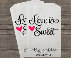 """These sweet wedding favor bags are perfect for your wedding's candy buffet or you can add your own special treats. Your guests will surely appreciate the special extra little touches of your fabulous event!    Flat Kraft Bags with Serrated Edges- (Natural Brown and White available)    S I Z E : Approx. 5"""" Wide x 7-1/2"""" Height    O R D E R I N G : Choose number of bags from drop down menu. Choose color of bags from drop down menu. Provide your information and any special instructions for your…"""