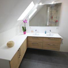 Découvrez le modèle de meuble de salle de bain Grégoire, conçu et réalisé par Atlantic Bain !