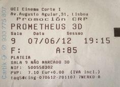 Cinema: Prometheus (Prometheus) (3D) @ Cinemas UCI - El Corte Ingles , Lisboa a 7 de Junho de 2012.