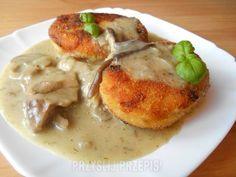 Kotlety ziemniaczane w sosie grzybowym - PrzyslijPrzepis.pl Cheeseburger Chowder, Soup, Meat, Chicken, Cooking, Kitchen, Cuisine, Koken, Soups