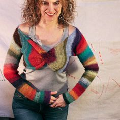 Hombre Stripe Shrug- Mexican blanket, crazy quilt, rag rug version of infinity