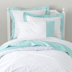 The Land of Nod | Girls Bedding: Teal Scalloped Bedding Set in Girl Bedding