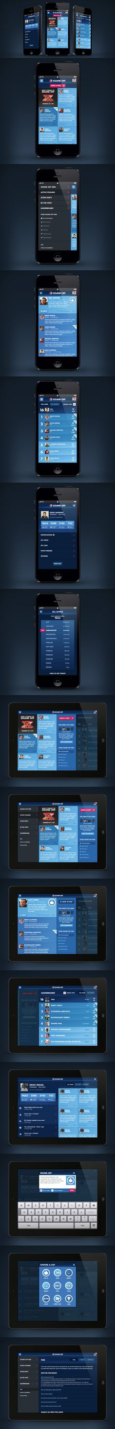 Pepsi Sound Off by Leigh Whipday, via Behance *** Pepsi wanted to evolve their Sound Off site into a second screen application for its community during live events and beyond. Initially launched for the X Factor, Sound Off is a flexible framework allowing specific components to be added for any live event to encourage fans to interact whilst watching.