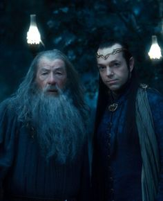 "Ian McKellen as Gandalf, left, and Hugo Weaving as Elrond in ""The Hobbit: An Unexpected Journey."" (New Line Cinema / MGM / Warner Bros. The Hobbit Movies, O Hobbit, Jack White, Thranduil, Legolas, Gandalf, Fellowship Of The Ring, Lord Of The Rings, Jackson"
