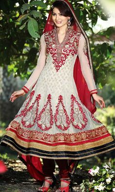 $121.48 Brown A Line Embroidered and Zardosi Work Net Anarkali Salwar Suit 26016