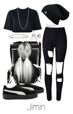 """Snaking out with Jimin "" by ari2sk ❤ liked on Polyvore featuring NIKE, WithChic, Pernille Corydon and Puma"
