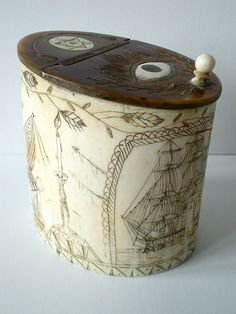 Early 19th Century American Sailor Work Scrimshawed Whale Bone & Wood Ditty Box. The Early American Navy & Freemasonry Were Very Closely Interlinked. Dates To Around 1810 - 1820. Lid Inlaid With A Masonic All Seeing Eye & Hexagram.