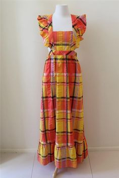 Vintage 70's Mod Retro Box Stripe Gingham Ruffle Runway Diva Maxi Dress