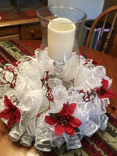 by LizzysWreathsNThings Christmas Arrangements, Christmas Table Decorations, Diy Christmas Ornaments, Christmas Wreaths, Winter Centerpieces, Wedding Centerpieces, Deco Mesh Pumpkin, Memorial Day Wreaths, Fabric Wreath
