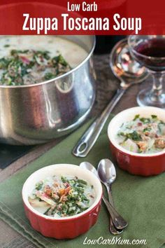 4 Points About Vintage And Standard Elizabethan Cooking Recipes! An Easy To Make Low Carb Zuppa Toscana Soup That Is Chock Full Of Sausage And Healthy Vegetables. It's A Favorite Italian Cream Soup. Keto Foods, Ketogenic Recipes, Low Carb Recipes, Cooking Recipes, Healthy Recipes, Cooking Tips, Vegetarian Recipes, Zuppa Toscana Suppe, Toscana Soup