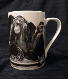 222 Fifth SLICE OF LIFE See Speak Hear NO EVIL Mug Cup Monkeys Kent Barton 12oz
