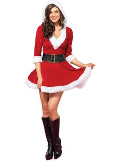 18c072fc0a6e5 Mrs. Claus Velvet Hooded Dress - Womens Christmas Costumes at Wholesale  Prices Mrs Claus Outfit