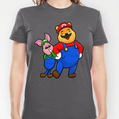Winnie Pooh Mario and Piglet Luigi T-shirt by Olechka - $18.00