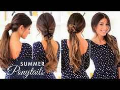 In this week's hair tutorial I show you these three cute ponytails that are very fun and summer appropriate. I've added my Ombre Chestnut Luxy Hair Extension. Cute Easy Ponytails, Cute Ponytail Hairstyles, Easy Summer Hairstyles, Ponytail Styles, Hairstyles Haircuts, Trendy Hairstyles, Ponytail Ideas, Ponytail Tutorial, School Hairstyles
