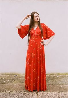 VINTAGE 70S RED ANGEL SLEEVE FLORAL MAXI DRESS-PEACE VINTAGE