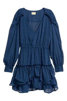Short chiffon dress - Dark blue - Ladies | H&M GB