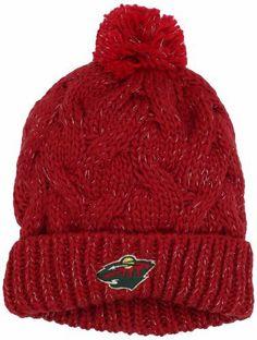 NHL Minnesota Wild Women's Cuffed Knit Hat With Pom, One Size ,Red adidas. $11.50