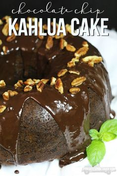 Want a new spin on the Chocolate Chip Devil's Food Cake? How about trying it with Kahlua! This Chocolate Chip Kahlua Cake is super easy to make and AMAZINGLY delicious! Topped with a Coffee Kahlua Chocolate Ganache. SO YUM!