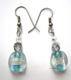 Turquoise lampwork glass drop fashion earrings
