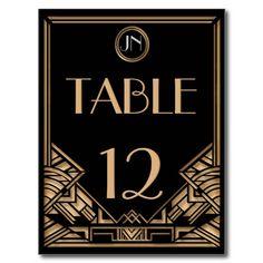 Black Gold Art Deco Gatsby Style Table Numbers Postcard http://www.zazzle.com/black_gold_art_deco_gatsby_style_table_numbers_postcard-239986986639092550?rf=238835258815790439