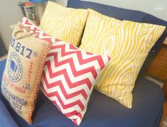 Super Crazy Easy Fast Ten Minute One Piece Envelope Pillows in boys bedroom