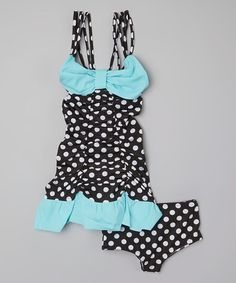 This Aquamarine Dot Swimdress & Bottoms - Infant, Toddler & Girls by Muddy Feet Boutique is perfect! #zulilyfinds